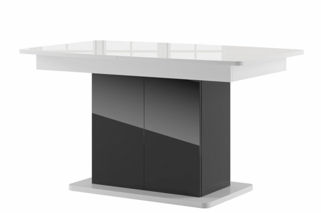 Star 03 Extendable Dining Table White Gloss Black Gloss 24a Lv