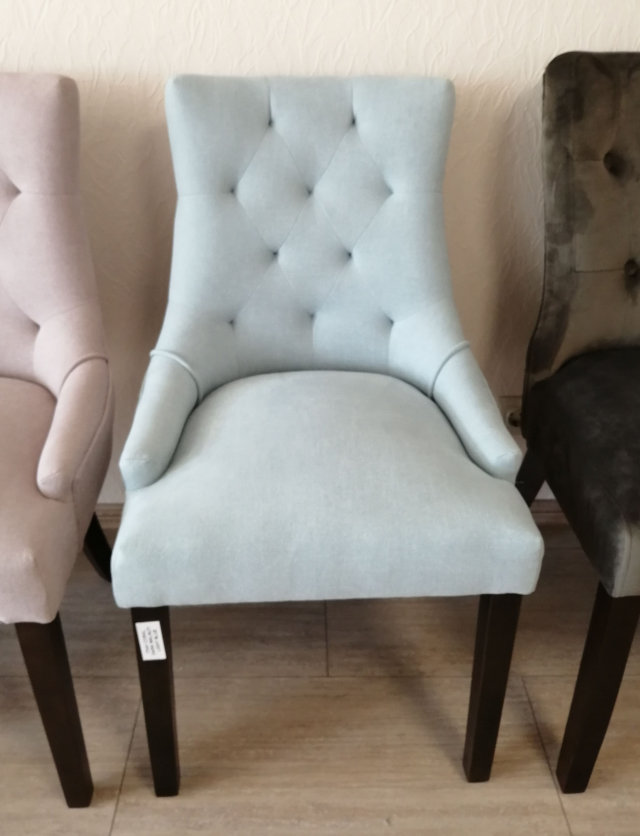 CORAL Chair dark walnut/light blue