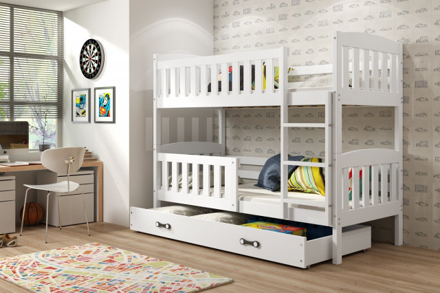 Cubus 2 Bunk bed with mattress 190x80 white