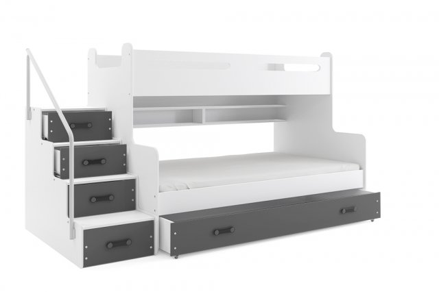 Bunk Bed With Mattress M5902730640424 White Graphite 24a Lv