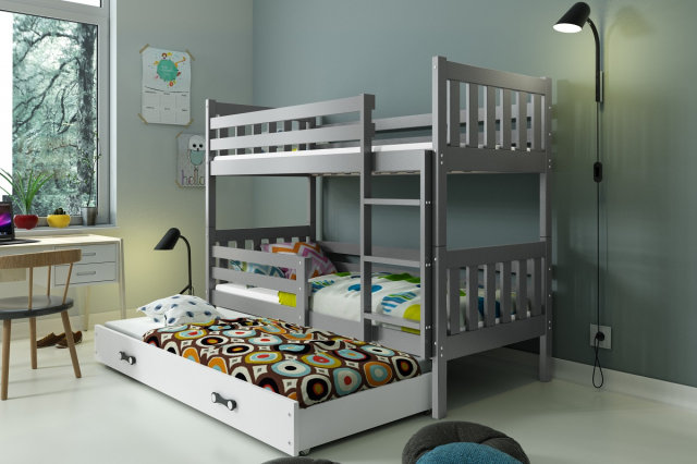 Carino 3 Triple bunk bed with mattress 190x80 graphite