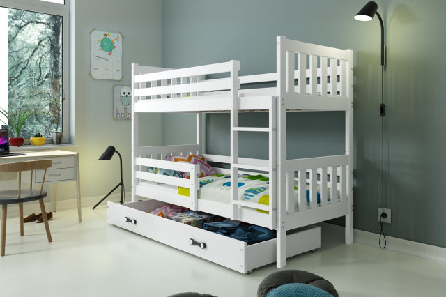 Carino 2 Bunk bed with mattress 190x80 white
