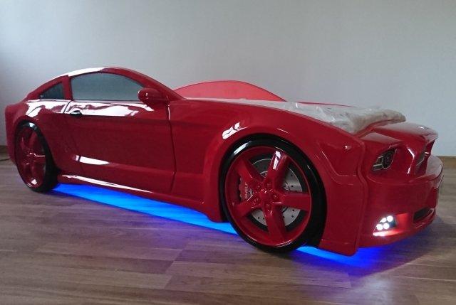 Light Mg 3d Full Mustang Kids Car Bed Mattress Front And Bottom