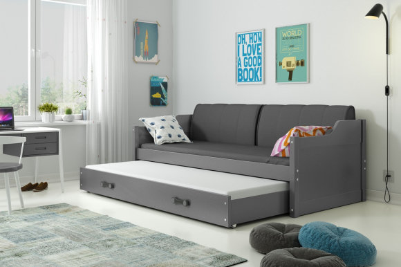 David II 200x90 Twin bed with mattress graphite