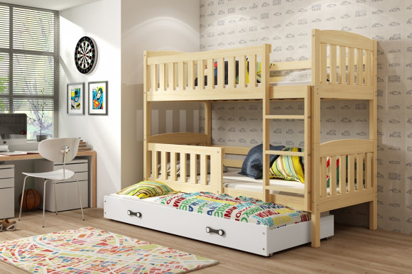 Cubus 3 Triple bunk bed with mattress 190x80 pine