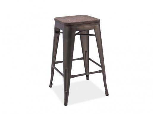 LONG COG Bar stool Walnut/graphite