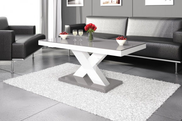 Xenon mini Coffee table (White gloss/Top grey gloss)