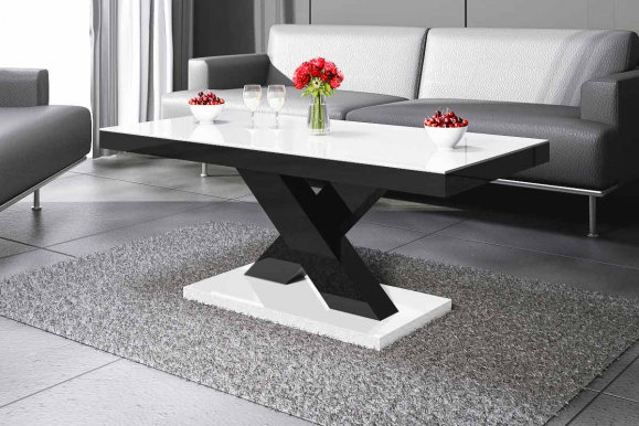 Xenon mini Coffee table (White/black gloss/Top white gloss)