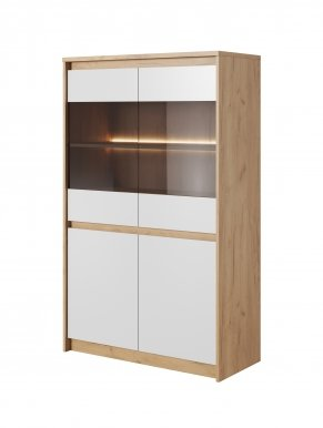 XELO I WIT N Glass-fronted cabinet Craft oak gold/white mat