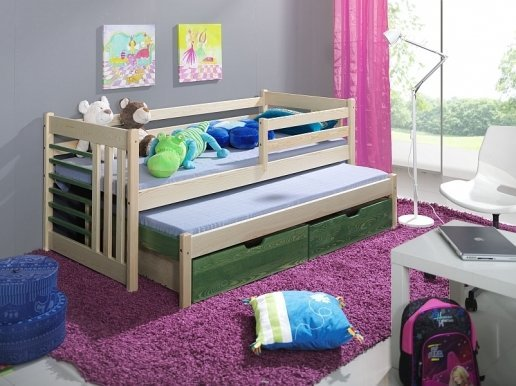SZYMON Bed with mattress Pine/olive