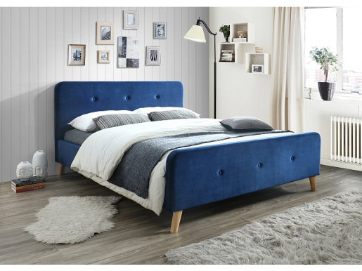 Malmo SZ 160 tap:Bluvel 86 Granat/oak Bed with wooden frame