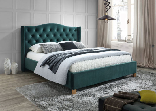 Aspen 160 Bed with wooden frame (Bluvel 78 Velvet Grün)