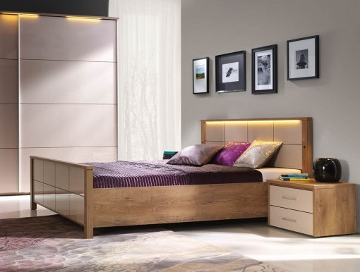 Wien LED 180+ST Bed with wooden frame
