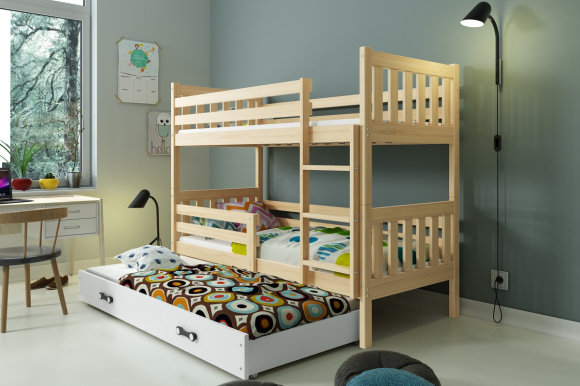 Carino 3 Triple bunk bed with mattress 190x80 pine