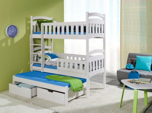 DOMINIK III Triple bunk bed with mattress White