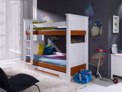 CAZIMIR Bunk bed with mattress White/cognac acrylic