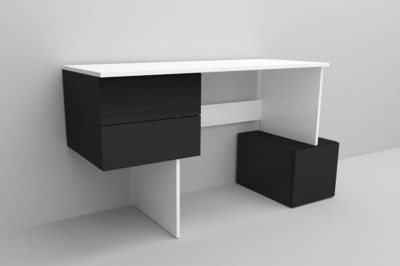RUBIK /CONCEPT Desk Black mat/white mat