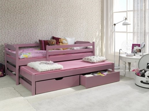 MARCIN II Bed Pine with mattress Pink
