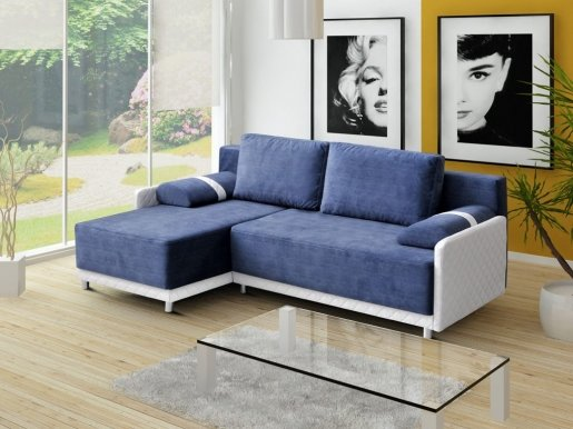Koniglich Universal L/P Сorner sofa (Blue fabric Cairo 31+ White eco leather Soft Karo 17)