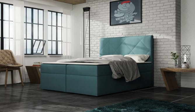 FALO Box Springs 140x200 Bed with box (turquoise fabric olaf 17)