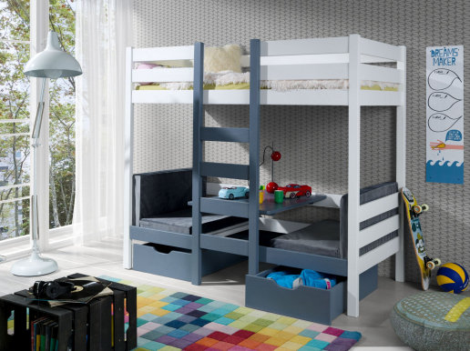 BARTOSZ Bunk bed with mattress White/graphite acrylic