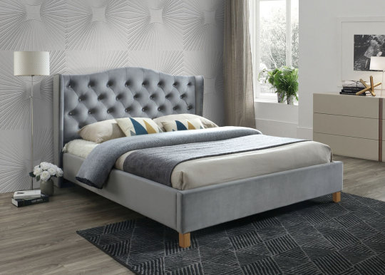 Aspen 140 Bed with wooden frame (Bluvel 14 Velvet Grey)