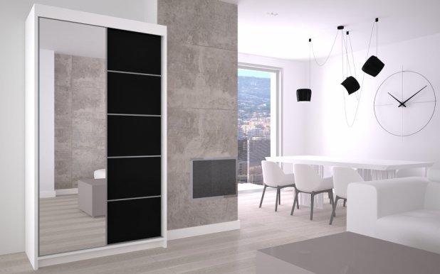 Max- Makira 120 White mat/black mat Wardrobe