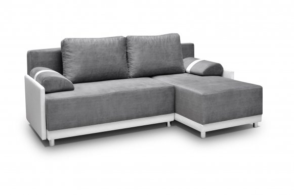 Koniglich Universal L/P Сorner sofa (Grey fabric Cairo 36+White eco leather Soft Karo 17)