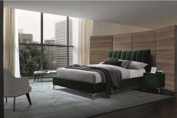 MIRAGEV 160 -160X200 Bed (TAP. 119 Velvet green/gold)