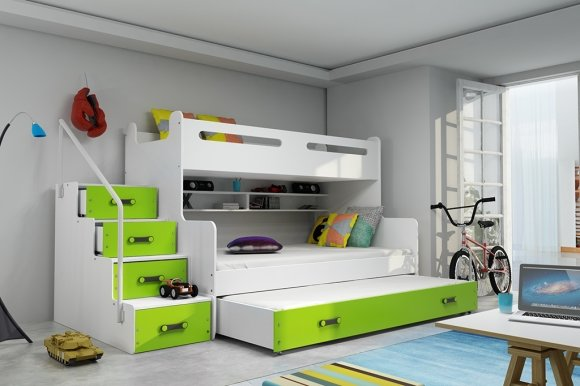 Triple bunk bed with mattress M2019012000074 white/green