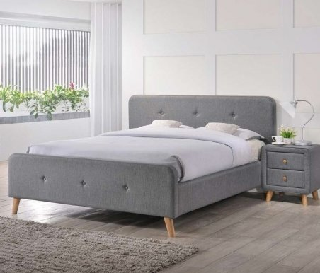 Malmo SZ 160 tap:23 grey Bed with wooden frame