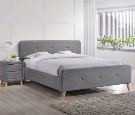 Malmo SZ 140 tap:23 grey Bed with wooden frame