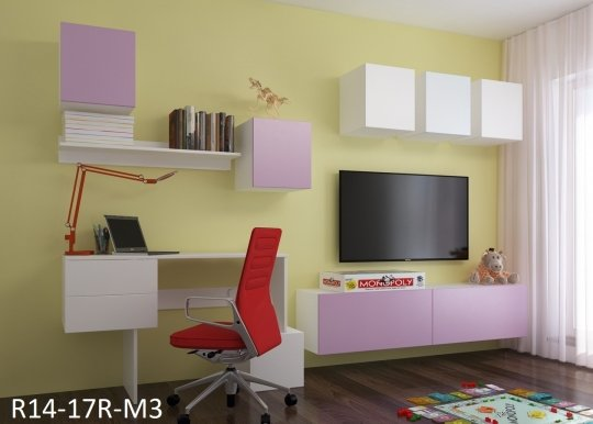 RUBIK 14 - R14-17R-M3 Wall Unit Pink/white mat