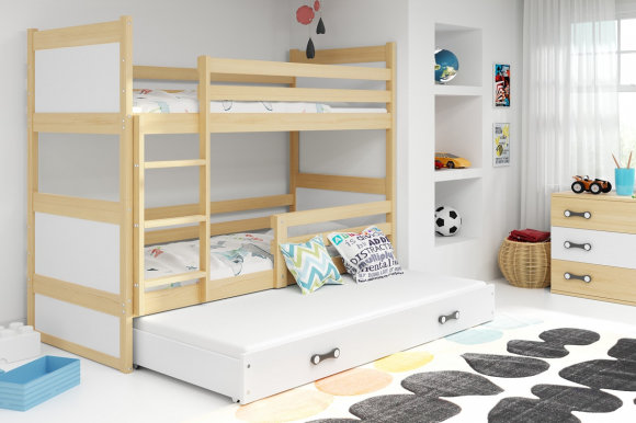 Rico III 200x90 Bunk bed with three mattresses Pine