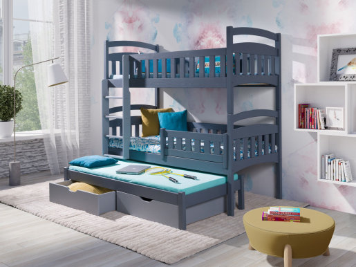 DOMINIK III Triple bunk bed with mattress Graphite acrylic/grey acrylic