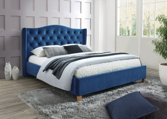 Aspen 160 Bed with wooden frame (Bluvel 86 Velvet Marineblau)