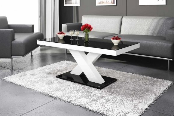 Xenon mini Coffee table (White/black gloss/Top black gloss)