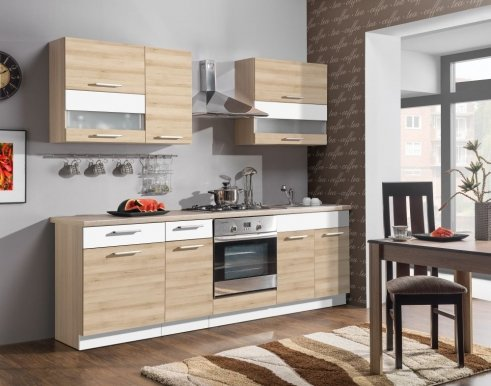Modena MDF 240 cm Kitchen Beech/MDF white gloss
