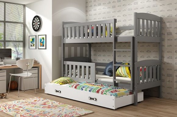 Cubus 3 Triple bunk bed with mattress 190x80 graphite