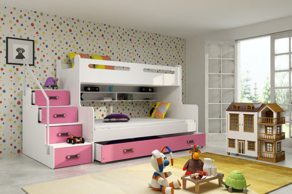 Bunk bed M5902730640455 white/pink with mattress