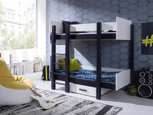 NESTOR Bunk bed with mattress Wenge/white