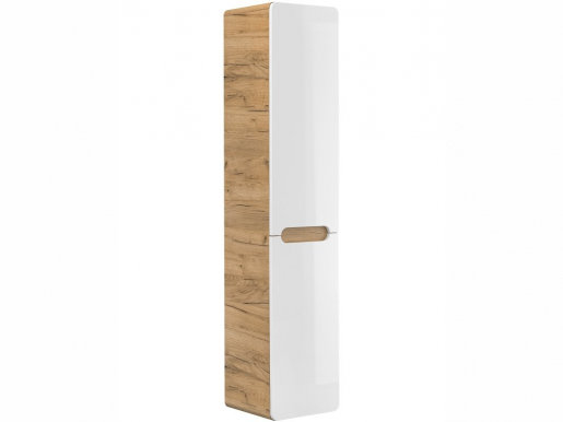 Abura White/oak wotan 804 Tall bathroom cabinet with laundry basket