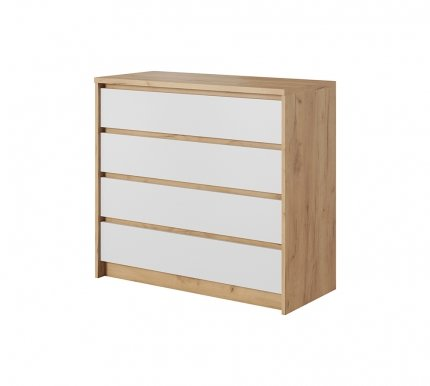 XELO F Chest of drawers Craft oak gold/white mat