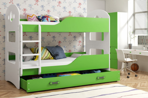 Domenik Bunk bed with mattress 190x80 white/green