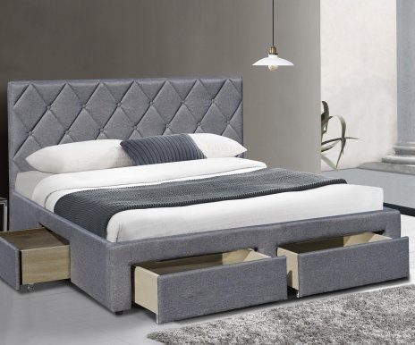 BETINA 160 Bed with box (Grey)