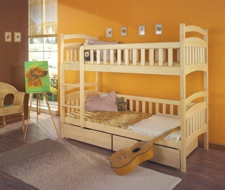 DOMINIK Bunk bed with mattress Pine