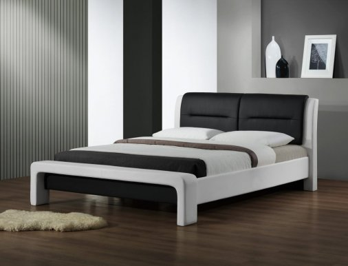 Cassandra LOZ 120 white/black Bed with wooden frame