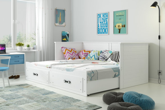 GERMES- 13111 Twin bed with mattress 200x80 white