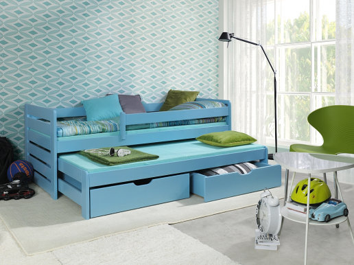 TOMASZ II Bed with mattress Blue acrylic