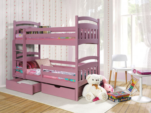 JAKUB II Bunk bed with mattress Pink